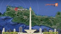 Banner Gempa Megathrust Bayangi Jakarta (Liputan6.com/Abdillah)