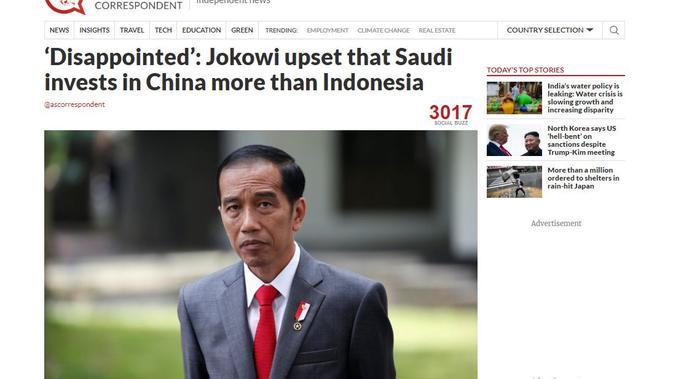 [Cek Fakta] Benarkah Jokowi Marah Seperti Anak Kecil Saat Tahu Arab Saudi Lebih Besar Investasi ke China?
