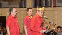 Ketua MPR RI Bambang Soesatyo (Bamsoet) saat Sosialisasi Empat Pilar MPR RI dan Pelantikan Depidar Soksi Kepri di Tanjungpinang, Kepri, Kamis (21/11/19).