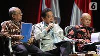 Mendag Agus Suparmanto (tengah) menyampaikan paparan saat diskusi panel VI Rakornas Indonesia Maju antara Pemerintah Pusat dan Forum Koordinasi Pimpinan Daerah (Forkopimda) di Bogor, Jawa Barat, Rabu (13/11/2019). Panel VI itu membahas transformasi ekonomi I. (Liputan6.com/Herman Zakharia)
