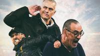 Ilustrasi Pelatih - Jurgen Klopp, Jose Mourinho, Maurizio Sarri (Bola.com/Adreanus Titus)