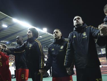 Selebrasi Pemain Belgia Usai Kalahkan San Marino 9-0