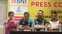Suasana jumpa pers final Porliga 2019 di Yogyakarta (Switzy Sabandar/Liputan6.com)