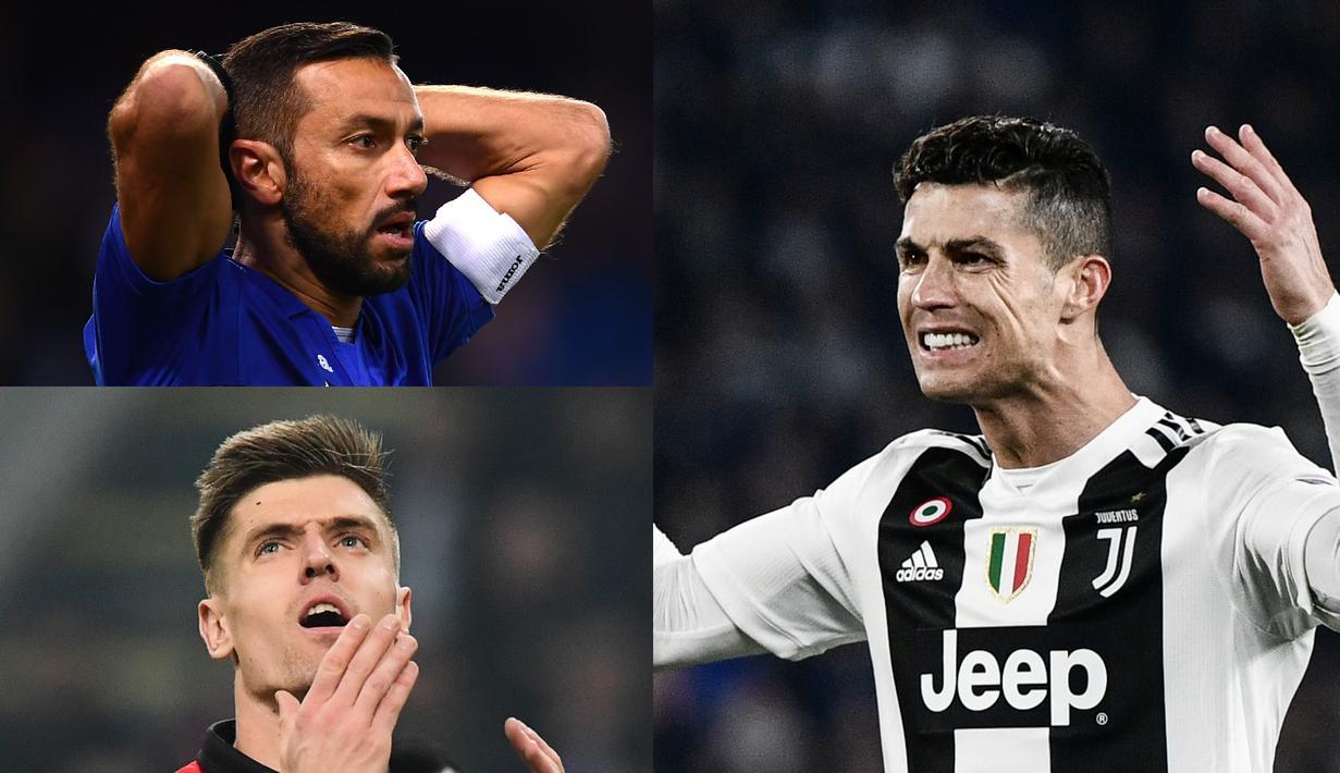 Penyerang Juventus, Cristiano Ronaldo belum mampu menambah pundi-pundi gol hingga pekan ke-29. Hingga saat ini Ronaldo bersama Piatek dan Zapata mengoleksi 19 gol, tertinggal dua gol dari pemuncak saat ini, Quagliarella (Kolase Foto AFP)