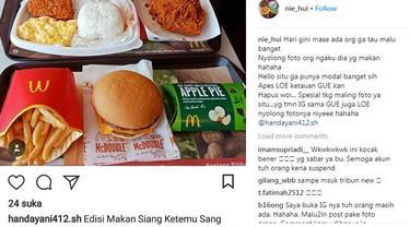 Niatnya sih pengin pamer makanan di Instagram, tapi kok malah dilabrak sama orang yang punya foto asli. (Foto: Instagram)