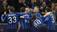 Penggawa Atalanta merayakan gol ke gawang Valencia. Atalanta menang telak 4-1 pada babak 16 besar Liga Champions. (Dok. Atalanta)