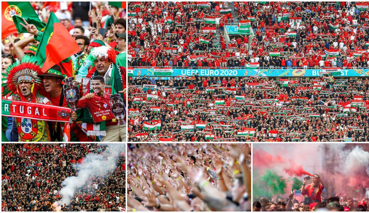 Ada pemandangan tak biasa saat Timnas Hungaria menghadapi Portugal pada laga perdana Grup F Piala Eropa 2020. Ada sekitar 60.000 lebih penonton hadir dan ini merupakan kali pertama stadion sepak bola bisa terisi penuh penonton sejak pandemi Corona melanda.