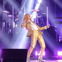 Penyanyi Celine Dion menghibur penonton saat konser tunggal di Sentul, Bogor, Sabtu (7/7). Sebelum konser di Indonesia, Celine Dion juga menggelar konser di Jepang dan Singapura. (Liputan6.com/Faizal Fanani)