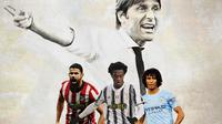 Ilustrasi - Antonio Conte, Diego Costa, Juan Cuadrado, Nathan Ake (Bola.com/Adreanus Titus)