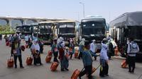 Jemaah Haji Indonesia saat baru tiba di Madinah. Darmawan/MCH