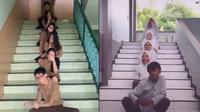 5 Aksi Kocak Prank Tik Tok di Tangga Ini Bikin Ngakak (sumber: Instagram.com/ndi____ dan Instagram.com/juneeeyaa_)