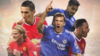 Premier League - Ilustrasi Pemain Chelsea dan Manchester United (Bola.com/Adreanus Titus)