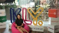 Banyu Bening ketika mengunjungi kantor Kapanlagi Youniverse pada Selasa (18/9/2018) (Giovani Dio Prasasti/Liputan6.com)