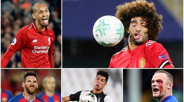 Berikut ini ragam wajah unik pesepak bola top dunia. Mulai dari selebrasi, ekspresi gagal cetak gol hingga muka kegebok bola.