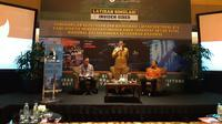 Menteri Dalam Negeri Tjahjo Kumolo dan Ketua BSSN Djoko Setiadi menjadi pembicara dalam diskusi keamanan siber di Jakarta, Selasa (24/7/2018). Liputan6.com/ Agustin Setyo W