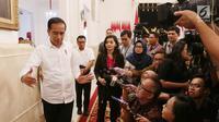 Presiden Joko Widodo usai memberikan keterangan terkait revisi UU KPK di Istana Negara, Jakarta, Jumat (13/9/2019). Jokowi menyatakan mendukung sejumlah poin dalam draf revisi UU KPK diantaranya kewenangan menerbitkan SP3. (Liputan6.com/HO/Kurniawan)