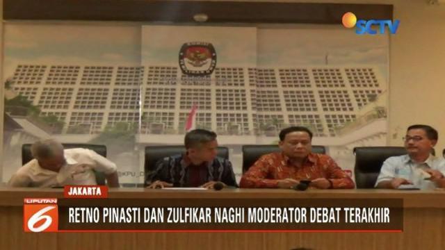 Berdasarkan musyawarah TKN dan PBN yang disaksikan KPU dan Bawaslu, Retno Pinasti dan Zulfikar Naghi akan jadi moderator Debat ke-4 Pilpres 2019.