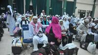 Jemaah haji yang berangkat dari Sumsel (Liputan6.com / Nefri Inge)