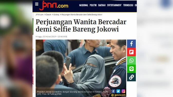 [Cek Fakta] Tidak Pernah Presiden Foto dengan Pemakai Cadar, Benarkah? (JPNN.com)