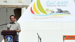 Citizen6, Sulawesi Tenggara: Menko Kesra, Agung Laksono menyampaikan amanat pada lauching Sail Wakatobi-Belitong di di Wang-Wangi, Kabupaten Wakatobi, Provinsi Sulawesi Tenggara. (Pengirim: Efrimal Bahri)