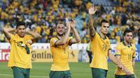 Pemain Australia merayakan kemenangan atas Oman dalam pertandingan Piala Asia 2015