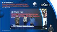 Penandatanganan kontrak payung penyediaan infrastruktur BTS 4G untuk daerah 3T (Foto: Screenshot Kemkominfo TV)