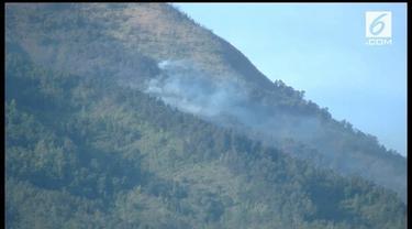 Kebakaran Gunung Sumbing mulai padam. dari 5 titik api kini tinggal 3 titik api dengan intensitas yang lebih kecil