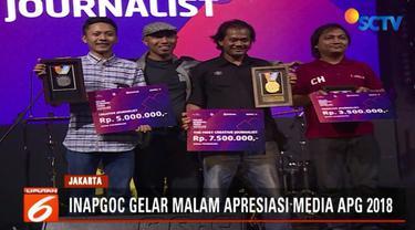Wartawan Liputan6 SCTV Fedhly Averouss Bey menjadi yang terbaik di kategori jurnalis paling kreatif dan berhak atas medali emas.