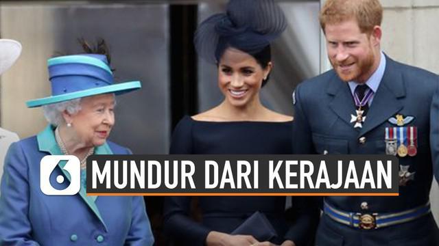 Pangeran Harry dan Meghan Markle mundur dari anggota senior keluarga Kerajaan Inggris.