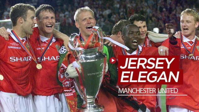 """Berita video deretan jersey Manchester United yang masuk kategori """"elegan"""", termasuk yang mereka pakai saat juara Liga Champions pada 1999."""