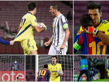 Striker Barcelona, Lionel Messi, tertangkap kamera menarik baju kiper Juventus, Gianluigi Buffon, pada laga Liga Champions. Aksi usil La Pulga tersebut dilakukan lantaran merasa frustasi usahanya membobol gawang Juventus selalu dipatahkan sang kiper 42 tahun.