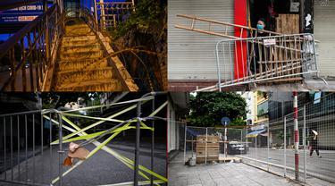 Foto kolase antara tanggal 29 dan 31 Agustus 2021 dari barikade yang didirikan untuk membatasi pergerakan penduduk di Hanoi, Vietnam, sebagai bagian dari rencana pihak berwenang untuk menghentikan penyebaran virus corona Covid-19. (Manan VATSYAYANA/AFP)