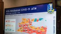 Peta persebaran Corona COVID-19 di Jawa Timur pada Rabu, 1 April 2020. (Foto: Liputan6.com/Dian Kurniawan)