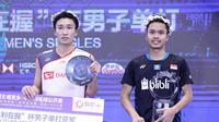 Tunggal putra Indonesia, Anthony Sinisuka Ginting, menjuarai China Terbuka 2018 setelah menundukkan Kento Momota di final, Minggu (23/9/2018). (PBSI)