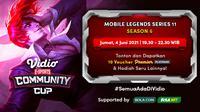 Live Streaming Vidio Community Cup Season 5 Mobile Legends Series 10 By Samsung Galaxy A32 di Vidio. (Sumber : dok. vidio.com)