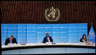 Direktur Jenderal WHO Tedros Adhanom Ghebreyesus (tengah) saat konferensi pers daring dari Swiss dilihat di Brussel, Belgia, Senin (29/6/2020). Virus corona COVID-19 telah menginfeksi lebih dari 10 juta orang di seluruh dunia, lebih dari 500 ribu di antaranya meninggal dunia. (Xinhua/Zhang Cheng)
