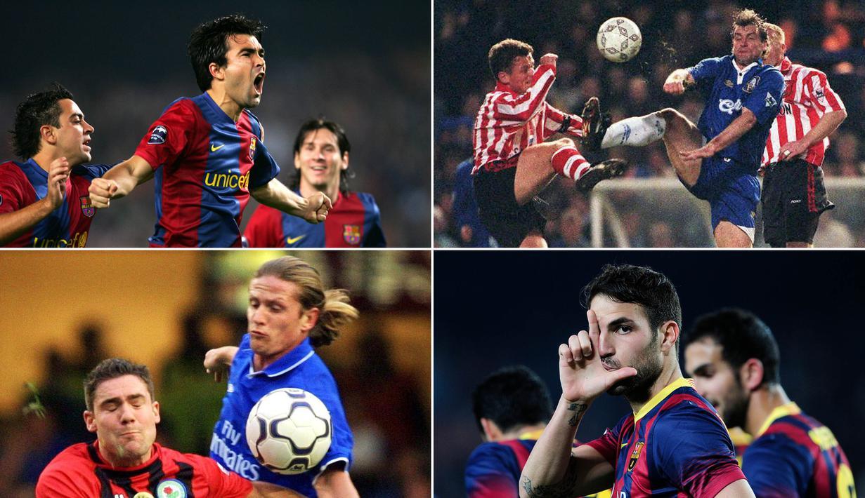 Berikut ini tujuh bintang dunia yang pernah membela Barcelona dan Chelsea. Dua di antaranya, Cesc Fabregas dan Pedro yang hingga kini masih bermain untuk Chelsea. (Kolase foto-foto dari AFP)