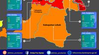 Peta Sebaran Covid-19 Di Provinsi Banten. (Rabu,16/12/2020). (Satgas Covid-19 Banten)