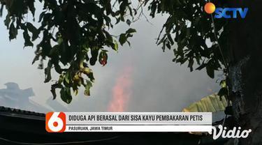 Kebakaran melanda sebuah industri yang memproduksi petis di Kota Pasuruan, Jawa Timur, Senin (22/6) sore. Tidak ada korban jiwa dalam kejadian ini. Kebakaran menghanguskan industri rumahan pembuatan petis, di Kelurahan Gadingrejo, Kecamatan Gadingrej...