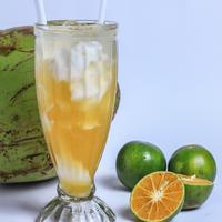 Ilustrasi es jeruk kelapa muda./Copyright shutterstock.com/g/Puspa+Mawarni168