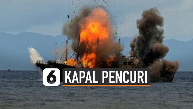 Kapal pencuri ikan di perairan laut. Indonesia tak lagi ditenggelamkan. Penenggelaman kapal muncul saat era Menteri KKP Susi Pudjiastuti.