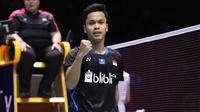 Tunggal putra Indonesia, Anthony Sinisuka Ginting, berhasil mengalahkan pemain Chinese Taipei, Chou Tien Chen, pada semifinal China Terbuka 2018, Sabtu (22/9/2018). (PBSI)
