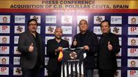 Batavia Sports Group (BSG) hasil kolaborasi antara Akademi Sepak Bola ASIOP dengan Batavia Pictures secara resmi mengakuisisi klub Spanyol, C.D. Polillas Ceuta. (Bola.com/Muhammad Adyaksa)