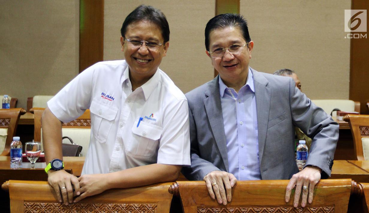 Dirut PT Indonesia Asahan Alumunium (Inalum) Budi Gunadi Sadikin (kiri) dan Dirut Freeport Tony Wenas saat rapat kerja dengan Komisi VII DPR di Gedung Nusantara I, Jakarta (15/1). Rapat membahas sejumlah agenda. (Liputan6.com/JohanTallo)