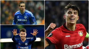 Chelsea resmi mengumumkan perekrutan Kai Havertz dengan transfer seharga 80 juta euro. Pemain asal Jerman ini menjadi salah satu pembelian termahal Chelsesa di bursa transfer. Berikut Kai Havertz dan 5 pembelian termahal Chelsea di bursa transfer. (kolase foto AFP)