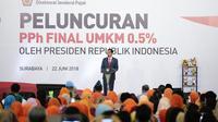Presiden Jokowi meluncurkan tarif baru pajak UMKM 0,5 persen di Surabaya, Jawa Timur (Dok Foto: Humas Ditjen Pajak)