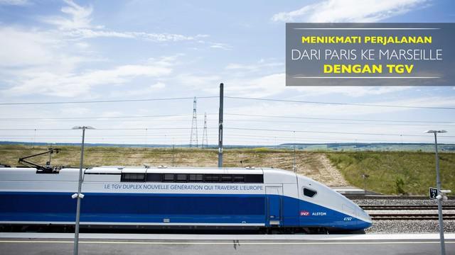 Kali ini Bola.com menuju Marseille dari Prancis menggunakan kereta tercepat di dunia, TGV dengan jarak 770 km dengan waktu 3 jam.