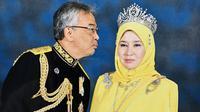 Raja Malaysia Al-Sultan Abdullah Ri'ayatuddin Al-Mustafa Billah Shah dan sang istri, Permaisuri Agung Tunku Hajah Azizah Aminah Maimunah Iskandariah. (dok. Twitter @cheminahsayang/https://twitter.com/cheminahsayang/status/1179692030240251904/photo/1)