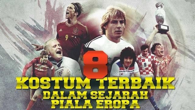 Video 8 kostum sepak bola terbaik dalam sejarah Piala Eropa dari tahun 1960 hingga sekarang, salah satunya kostum dari Belanda yang pernah membawa negaranya juara Piala eropa 1988.