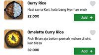 Deskripsi menu kafe di Jakarta, Asobi Cafe, yang sempat viral. (dok. Twitter @FOODFESS2)